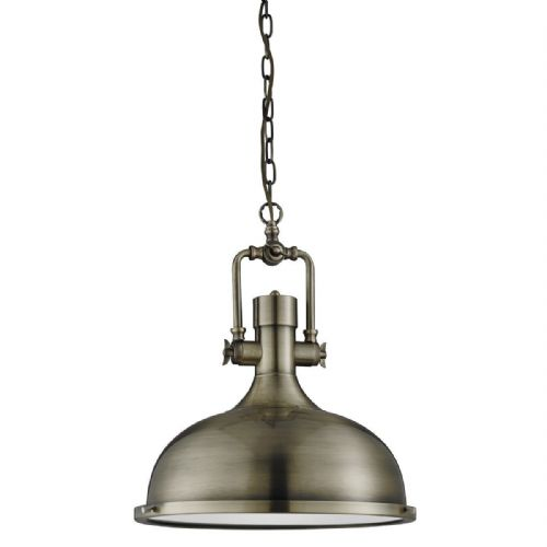 Industrial Pendant - 1 Light Antique Brass, Frosted Glass Diffuser 1322Ab